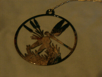 Metal Circle Camo Enamel Dragonfly Ornament For Christmas Tree or Out Side