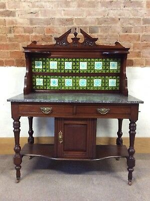 Victorian/Edwardian Washstand With Marble Top And Tiled Back