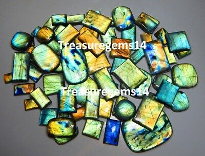 250 Ct Natural Wholesale Lot Multi Fire Labradorite Rectangle Cabochon Gemstones