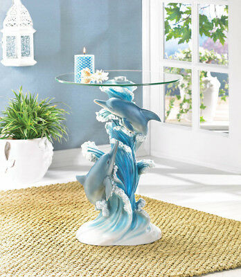 Playful Dolphins Accent Glass Top End Sofa Table Decorative Livingroom Furniture