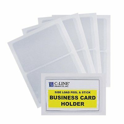C-Line Self-Adhesive Business Card Holders, Side Loading, Clear,5 packs