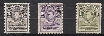 Basutoland 1938 Kgvi Definitives Top 3 Values Mnh