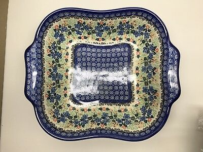 UNIKAT 1728 hand Made In Poland Beautiful Art Painted Dish Square Bowl Serving