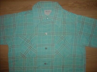 Vtg 50S Y16 Mens Small Gabardine Rayon Button Rockabilly Stripe Plaid Shirt