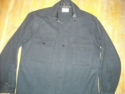 Vtg 40S Wwii Mens Wool Cpo 5 Brother Button Military Navy Long Sleeve Shirt