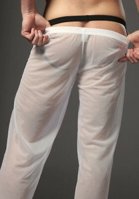 Hot Mens Sexy Long Trousers Super Breathable Mesh See-through Lingerie Underwear