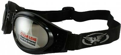 Global Vision Adventure Folding Motorcycle Goggles (Black Frame/Clear Mirrored