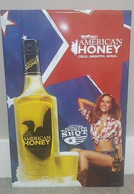 Wild Turkey American Honey Embossed Metal Sign