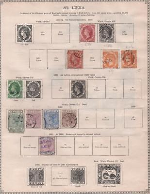 ST.LUCIA: 1860-1913 Examples - Ex-Old Time Collection - 2 Sides of Page (12716)