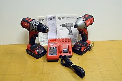 Milwaukee M18 Cordless Combo Set 2650 Impact 2601 Drill 2 Batteries Charger