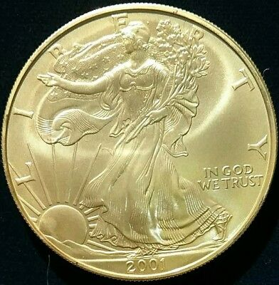2001 American Silver Eagle 1 oz .999 Coin  Full 24KT Gold Plated