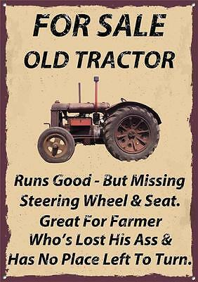 FOR SALE OLD TRACTOR Metal  Sign  30  x 40 cm