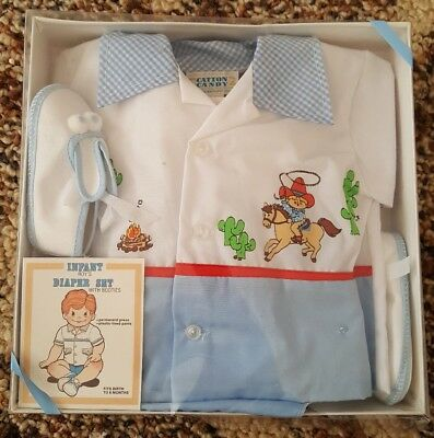 Vintage Infant Baby Boy Outfit Size Birth to 6 Months Cowboy Diaper Set Booties