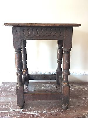 Early Oak Joynt Stool Chip Carved Turned Supports Decorative Joint Stool