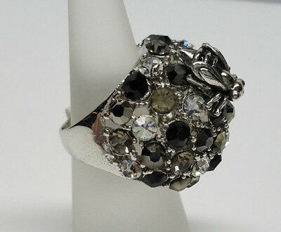 Sparkling Crystal Bumblebees Silver Ring Fashion > Womens Size 6 - >New<