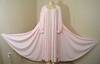 "Vintage Lucie Ann 150"" Sweep Silky Lacey Nylon Nightgown/robe Set-Size M-Bust 42"