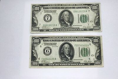 2 1928 $100 Federal Reserve Notes Chicago And Atlanta almost Uncirculated
