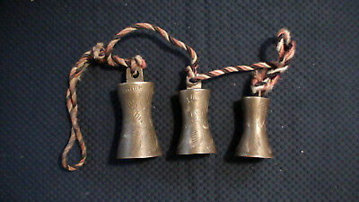 Vintage Brass Bells Hanging String Of 3 Brass Bells Ornate Etched Designs India