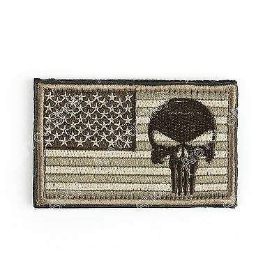 Punisher Skull Usa Army Flag Morale Badge Embroidered Tactical Hook Patch B BS1.