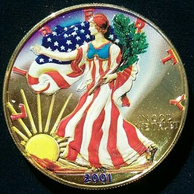2001 1 oz .999 Silver American Eagle U.S. Coin Gold Plated COLORIZED