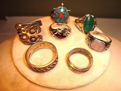 Vintage Ring Lot Of 7 Some 925 Silver