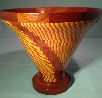 Turned Padauk & Colorply Wood Segmented Vase, Tequila Sunrise, Signed, Groovy!