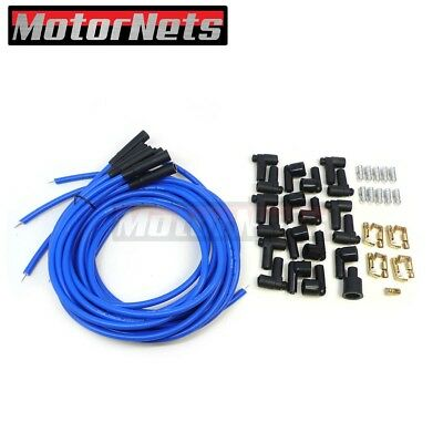 9.5mm Blue Straight Spark Plug Wires Fit HEI Distributor SBC BBC SBF Chevy Ford