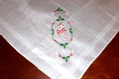 Ladies Christmas Handkerchief Embroidered Candy Cane with Holly