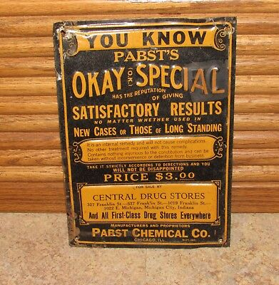 Old Antique Pabst's Okay Special Internal Remedy Cure Drug Store Sign