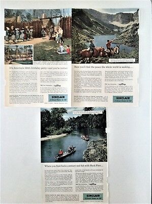 Lot of 3 Sinclair Oil 1957 Ads Jamestown Waterton Lakes (Can) Clark Natl. Forest