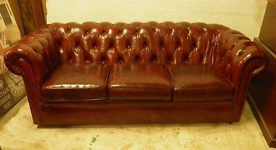 Vintage 3 seater Hand Dyed Oxblood Red Chesterfield sofa / Settee