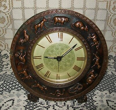 VINTAGE BRASS/BRONZE EQUITY 'CHINESE YEAR ZODIAC' CLOCK *not working* 17cm