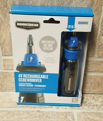 HAMMERHEAD 4V Cordless Rechargeable Screwdriver w/ Circuit Sensor Technology