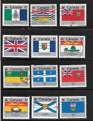 CANADA PROVINCIAL & TERRRITORIAL FLAGS 17 CENTS STAMPS # 821 to  832 USED