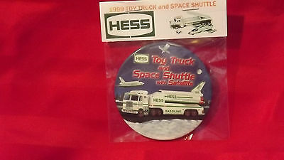 """1999 Hess Toy Truck and Space Shuttle 3"""" Pin Back Button Repackaged  154"""