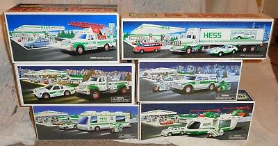 Lot of 6  Hess Toy  Trucks  NIB Box & Packaging 1992, 94, 98, 2001, 04, 11 NICE