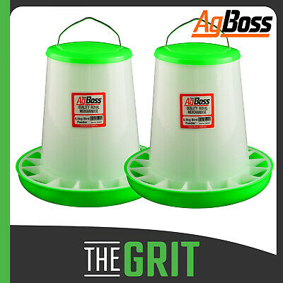 AgBoss Red 2 Pk 5.5kg Bird Chicken Chook Aviary Automatic Poultry Feeder