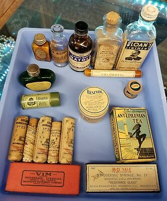 antique 18 PC lot homeopathic snake oil medicine Humphreys' etc. Bottles tins