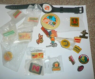 VINTAGE Home Depot Apron Pin Lot OF 21, KEY,CSS,ENERGIZER BUNNY,TITAN + WATCH