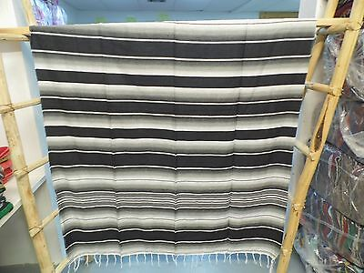 Serape ,5' X 7',Mexican Blanket,HOT ROD, Seat Covers,Motorcycle,BLACK AND WHITE
