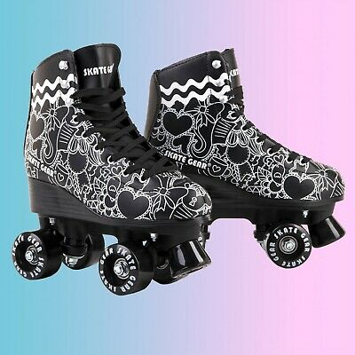 Cal 7 Roller Skates Indoor Outdoor Skating Graphic Faux Leather Boot PVC  Black
