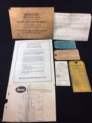 Vintage 1955 Sears Allstate Air Compressor 102.211 Operating Instructions & Misc