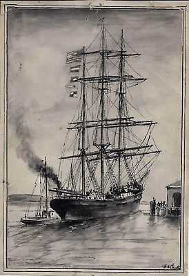 San Francisco Bay Schooner by W. A. Coulter. 1880s or 90s pen and ink.