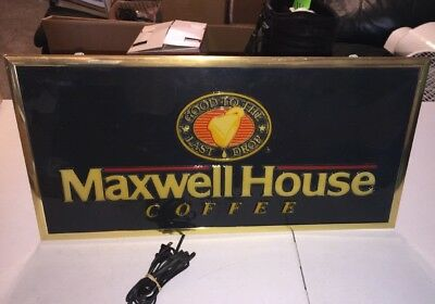 Vintage Maxwell House Coffee Electric Lighted Sign 26x13x4