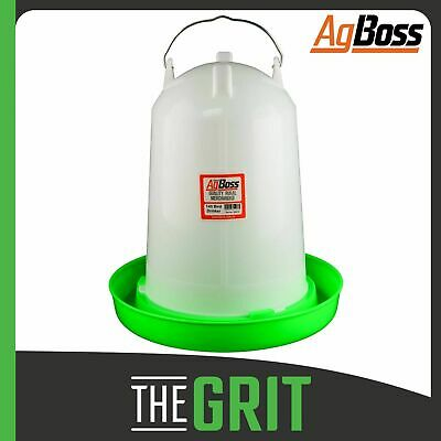 AgBoss 14 Litre Red Chicken Chook Poultry Straight Bird Drinker Feeder