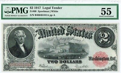 "$2 1917 ""Large Size"" Legal Tender US Note PMG 55 ""About Uncirculated"""