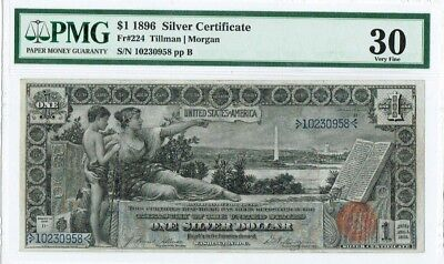 "$1 1896 ""Large Size"" Silver Certificate PMG 30 Very Fine"