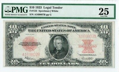 "$10 1923 ""Poker Chip"" Legal Tender US Note PMG 25 Very Fine"
