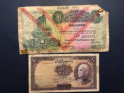 """SYRIA 1939 ONE POUND / """"LIVRE"""" Taped and IRAN 10 Rials 1937 Banknotes"""