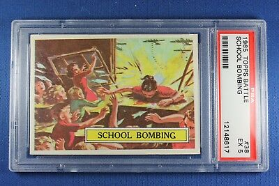 1965 Topps Battle Cards - #38 School Bombing - PSA Ex 5